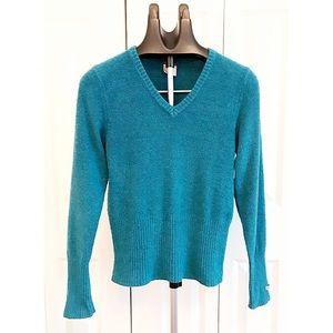 COLUMBIA Sz S X.C.O. Blue Nylon V-Neck L/S Sweater